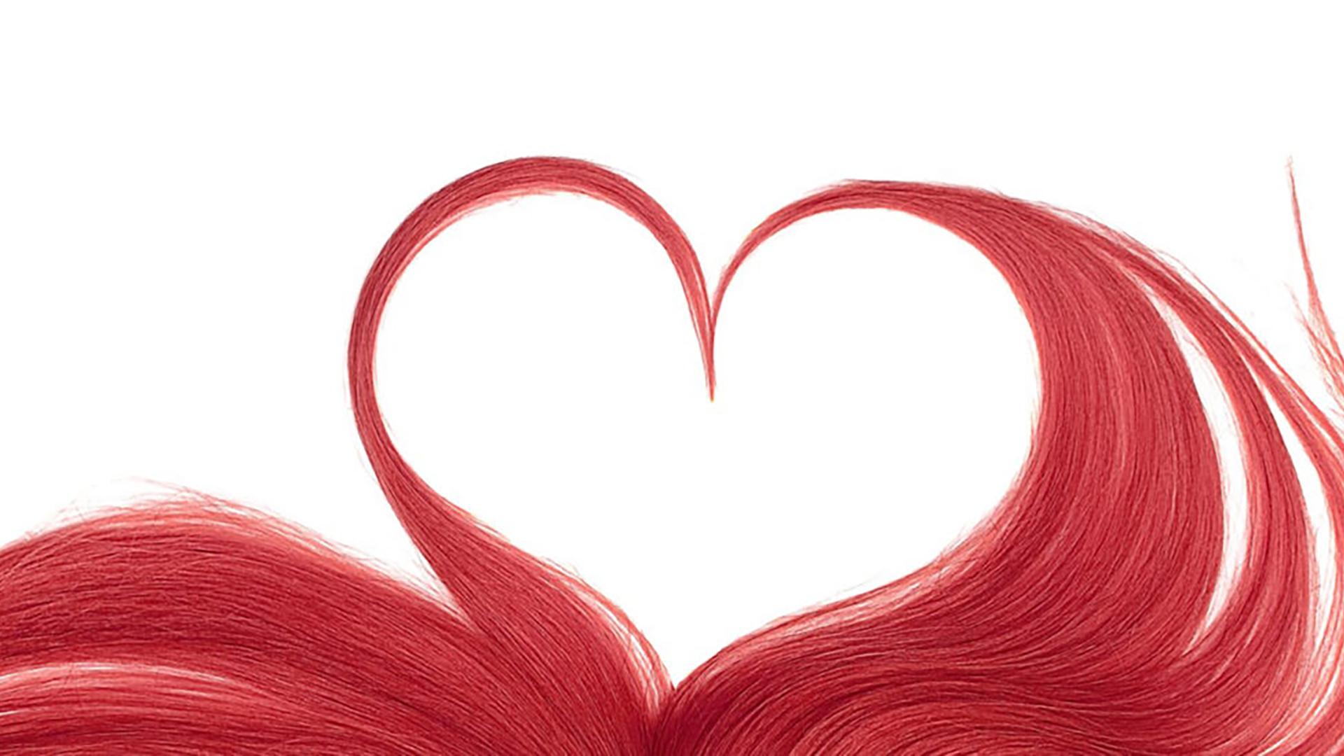 Hairzstück rote Haare formen ein Herz